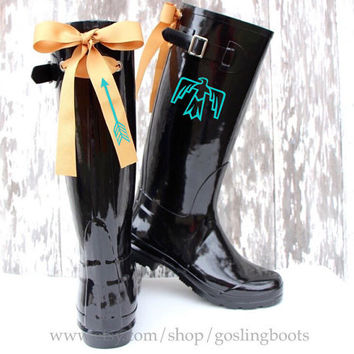 Custom Monogram Black Gloss Rain Boots with Thunderbird and Bows
