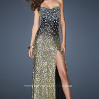 Embellished Strapless Sweetheart Sequin Dress