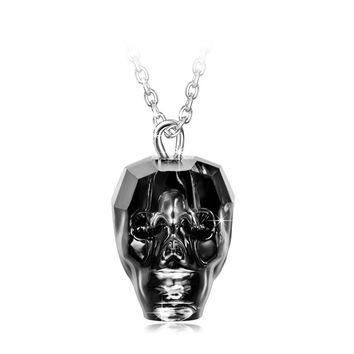 """King of Rebirth"" Sterling Silver Skull Heads Pendant Necklace Made with Swarovski Crystals"