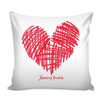 Pillow with Insert - Heavyweight Faux Linen Burlap - Heart Doodle