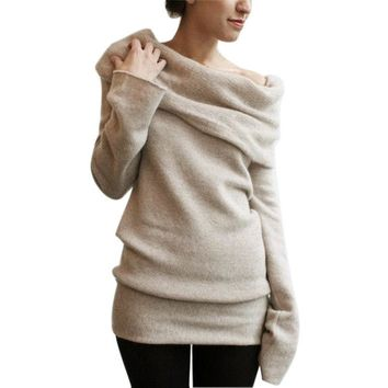 Fashion New Women Long Sweater Long Sleeve Hooded Coat Pullover Brown Shirt