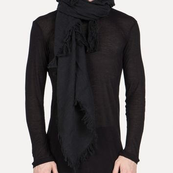 SCARF-8 Fringed Loose Twill Scarf in Off-Black - SS15 Jan-Jan Van Essche