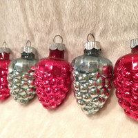 Set of Five Red and Silver Shiny Brite Grape Ornaments