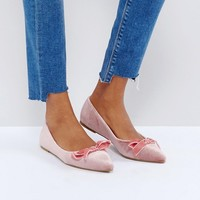 Glamorous Pink Velvet Bow Ballet Flat Shoes at asos.com