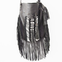 Leather bag, indie fringe and tassel cross-body super soft sheep leather saddlebag in GREY