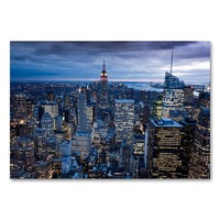 ''New York City, Ny'' 16'' x 24'' Canvas Wall Art by Yakov Agami (Blue)