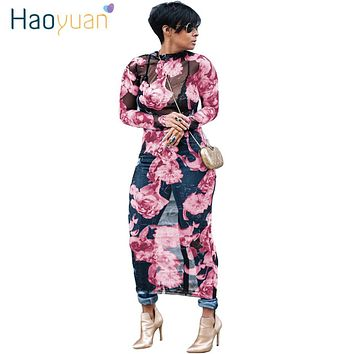 HAOYUAN Plus Size Floral Mesh Women Maxi Dress Long Sleeve Vestidos See Through Club Sexy Dress Summer Autumn Party Long Dresses