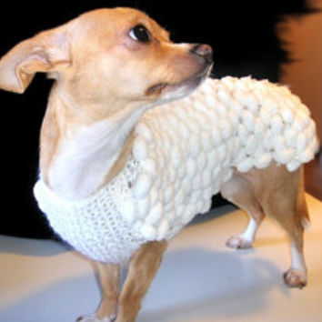 Home Pets Sweater Dog Chihuahua Pets clothing Pet Fashion Gift Handmade Coat Knitted Crochet Pets Puppy Pom Pom white