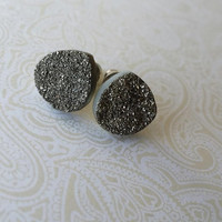 Druzy/Drusy Silver Titanium Colored Stainless Steel Stud Earrings