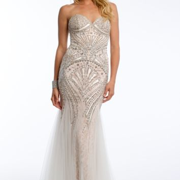 Beaded Deco Mesh Over Lace Godet Dress