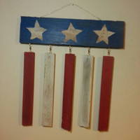 Rustic Patriotic Sign on Upcycled Barn Wood 4th of July American flag inspired pallet wood