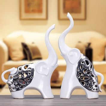 2pcs modern ceramic Silver hollow couple elephant figurines home decoration animal porcelain crafts ornaments wedding gifts