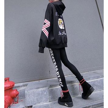 """Gucci"" Women Casual Letter Tiger Head Embroidery Long Sleeve Hooded Sweater Leggings Set Two-Piece Sportswear"