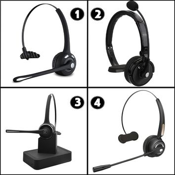 Wireless Bluetooth Headset Over the Head Multipoint Noise Cancelling Bluetooth Headphones w/ Microphone Charging Dock Dual Phone