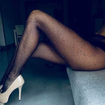 Fashion new pantyhose fishnet diamond stockings full of stars diamond sexy women leggings stockings