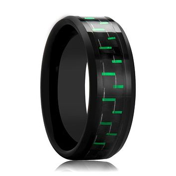Black Ceramic Ring - Black & Green Carbon Fiber  - Ceramic Wedding Band - Beveled - Polished Finish - 8mm