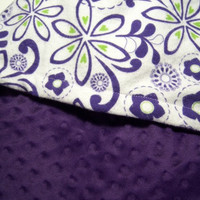 Toddler Blanket - Purple and Lime Green Flowers Minky Girls Toddler Bedding 38 X 42 Super Soft Minky Blanket