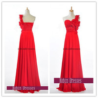 New Prom Dresses 2014, Custom-made Long Sleeveless One Shoulder Red Formal Prom Dresses Bridesmaid Dresses