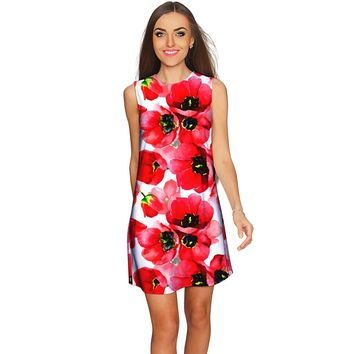 Tulip Salsa Adele Red Floral Summer Shift Dress