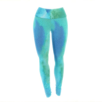 "Li Zamperini ""Marine"" Green Blue Yoga Leggings"