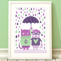 Nursery art girl, baby girls cat print, nursery print, cat nursery art, girls bedroom, baby girl, kids room, nursery decor, raindrops