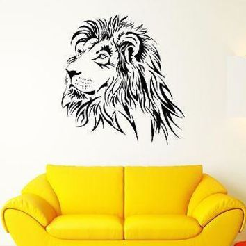 Wall Decal Lion Mane Predator Animal Head King Roar Cat Vinyl Stickers Unique Gift (ed163)