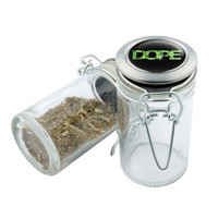 Glass Stash Jar - Dope Design - 75ml Storage Container - Secret Stash Box for Custom Herb Grinder - Stay Fresh Herbs 1/6 oz.