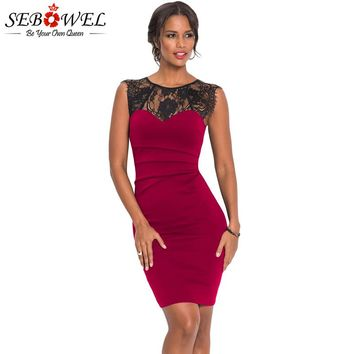 SEBOWEL Sexy Burgundy Sheer Lace Bodycon Party Dress Women Sleeveless Elegant Floral Lace Dress Black Navy Lace Evening Gown