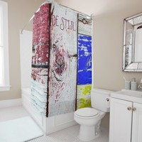Funny Neoplasticism wooden art style customizable Shower Curtain