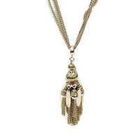 Vintage Tassel Necklace With Triple Chain In Gold Tone