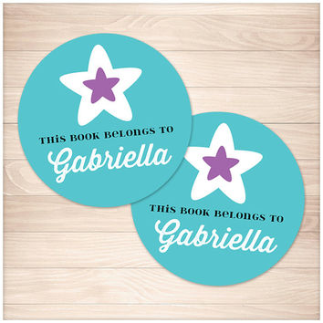 "Printable Turquoise Bookplate Stickers - Personalized Purple Star design round Editable PDF 2"" round stickers - Instant Download"