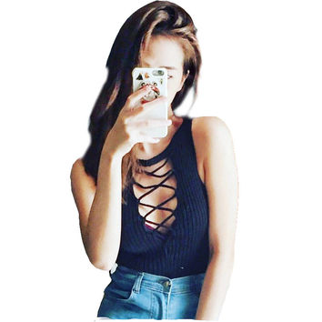 Street Style Knitted women's tank top crop Cropped tops for women Summer 2016 bralette strappy bra high neck sexy Croptop