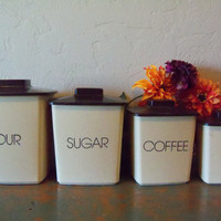 Vintage Kitchen Canister Set Flour Sugar by TheTravelingOwlShop