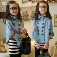 Girls Children Denim Double Buttons Jackets/Overcoats New Autumn Kids' Batwing Sleeve Denim Coats/Cloak Coats Baby Outwears Girls Clothing