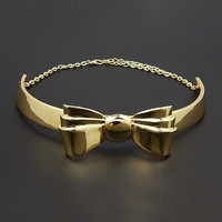 "8"" gold bow choker collar bib necklace .50' wide"