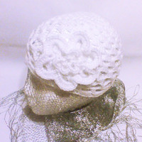 White crochet Hat Beanie hat Hand Crochet bridal hat flower applique Crocheted  Hats Spring Fashion Women Accessory Accessories Gift for her