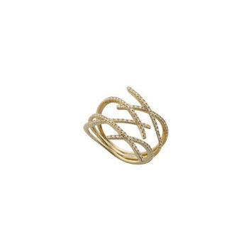 Criss Cross Pave Diamond Fashion Ring in 14K Yellow gold