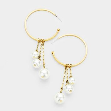 Metal Hoop Drop Triple Pearl Dangle Earrings