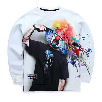 Suicide Clown Crew Neck Sweatshirt Men & Women Dead Clown Gun To Head Harajuku Style All Over Print White Sweater