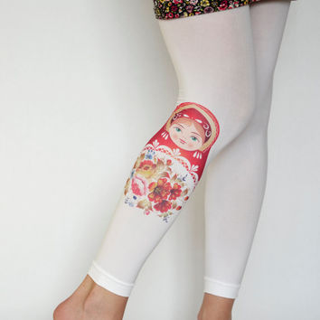 Babushka Printed  Tights,Red Russia  Matryoshka,Flowers Print  Leggings, Clothing Russian Doll  Tights  Handmade