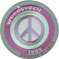 Woodstock Iron-On Patch Round Peace Logo