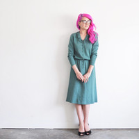 sage green knit dress . lady like ruffle collar .medium .sale