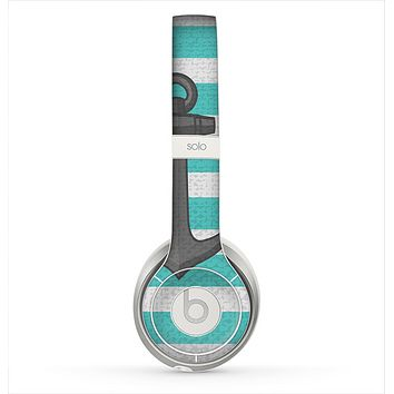The Trendy Grunge Green Striped With Anchor Skin for the Beats by Dre Solo 2 Headphones
