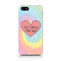Tie Dye Too Sassy For You iphone 5 Case, iphone 5S Case Plastic Hard Case Unique Design-Quindyshop (NAM46)