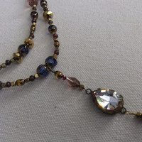 Garnet and Crystal Victorian Necklace