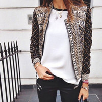 Geometric Print Zipper Jacket