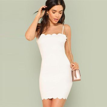 Form Fitting Scalloped Cami Mini Dress
