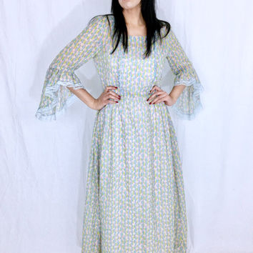 Vintage 60s Light Blue Pastel Flower Cotton Gauze Bell Sleeve Medieval Style Witchy Drop Waist Loose Fitting Sheer Maxi Dress M // L