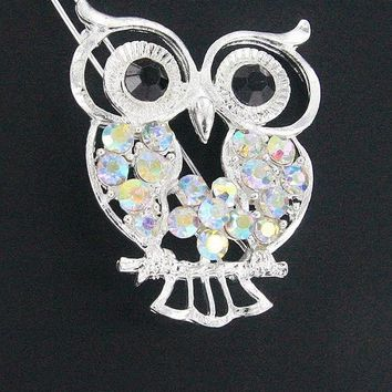 Set of 2 Rhinestone Owl Hair Clips