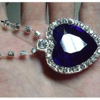 heart of the ocean Blue Heart Faux Diamond Costume Jewelry NECKLACE TITANIC